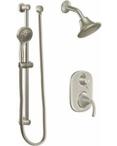 moen 600s pressure balanced shower system with 25 gpm shower head diverter vo brushed nickel