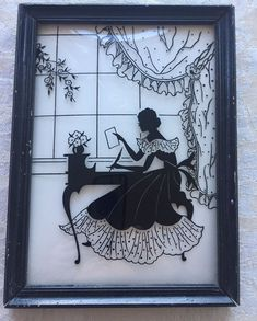 Vintage Convex Glass Reverse Painting Picture W/Silhouette Of Lady At Desk