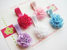 RESERVED Girls Hair Clips - Satin Ruffled Rose Flower Clippies (Set of 5)