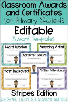 These end of the year awards are perfect to recognize your students for their unique talents and abilities! These awards are EDITABLE and feature a Striped background. Perfect for Primary Students and Elementary Students in Kindergarten, First Grade, Seco