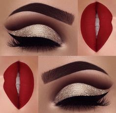 Excellent Red matte lips and gold glitter eye makeup 2018 – LadyStyle The post Red matte lips and gold glitter eye makeup 2018 – LadyStyle… appeared first on Fashion . Makeup Goals, Makeup Inspo, Makeup Inspiration, Makeup Tips, Beauty Makeup, Makeup Ideas, Beauty Tips, Makeup Tutorials, Beauty Products