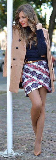 Ethnic Print Crossing Skirt by Mi Aventura Con La Moda
