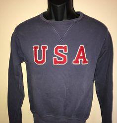 Vintage 90s Ralph Lauren USA Sweatshirt Polo America Spellout Pullover Jumper Big Logo Red White Blue Patriotic Olympics Rare Retro Small S