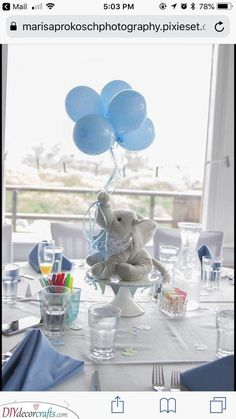 Easy and simple DIY decoration idea for a boy's Blue Elephant baby shower theme. - Easy and simple DIY decoration idea for a boy's Blue Elephant baby shower theme…. Dumbo Baby Shower, Idee Baby Shower, Elephant Baby Shower Cake, Shower Bebe, Baby Shower Backdrop, Baby Shower Balloons, Elephant Theme, Elephant Baby Shower Centerpieces, Baby Shower Table Centerpieces