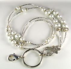 Beaded Lanyard JASMINE glass id badge holder  white by curlynetto, $18.99