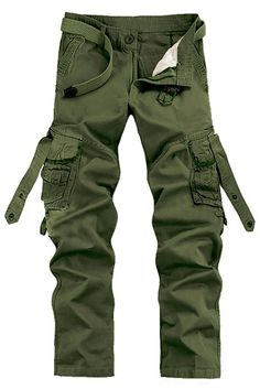 50ad050879 Menschwear Men's Multi Pocket Casual Cargo Trousers Sports Outdoors Military:  Amazon.co.uk