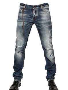 DSQUARED - 19CM WASHED DENIM SLIM FIT JEANS - LUISAVIAROMA - LUXURY SHOPPING WORLDWIDE SHIPPING - FLORENCE