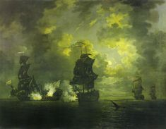 The Capture of the Foudroyant by HMS Monmouth, 28 February 1758 Blackpool, Plymouth, 28 February, 18th Century, Art History, Moonlight, Sailing, Sunrise, French