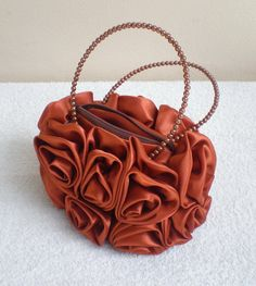 Beautiful Satin Rose Evening Handbag by MadeBySiam on Etsy, $15.00