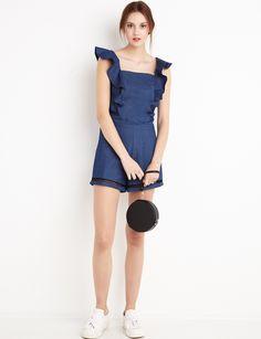 Ruffled Denim Romper #fashion #pixiemarket