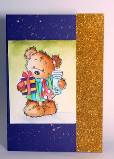 Christmas car with Lili Of the Valley stamp, Peerless watercolour, gold shimmer/glitter papar and gold watercolour splatter