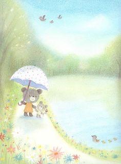 Dubravka Kolanovic / bear and mum Cute Animal Illustration, Children's Book Illustration, Soft Pastel Art, Santoro London, Wow Art, Art Wall Kids, Cute Cartoon, Cute Drawings, Cute Wallpapers