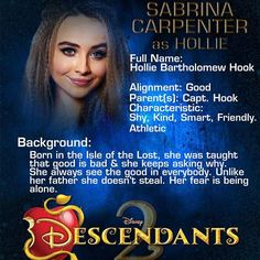 I had literally thought of a character just like that who was the daughter of Captain Hook, but she was a good person who didn't want to steal. Old Disney, Disney Love, Descendants 2 Movie, Isle Of The Lost, Mal And Evie, Rotten To The Core, Sabrina Carpenter, Disney Villains, Disney And Dreamworks