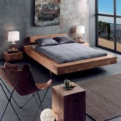raw, natural and modern solid pine bed … – Schlafzimmer – Home Decor Modern Bedroom Furniture, Modular Furniture, Furniture Layout, Bed Furniture, Furniture Design, Furniture Stores, Contemporary Bedroom, Luxury Furniture, Furniture Ideas
