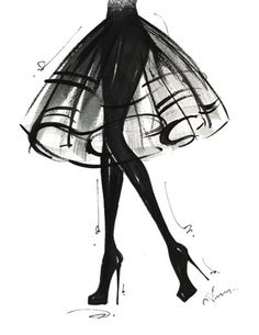 #fashion #art #black #skirt #illustration #heels #girl #glam #chic #style
