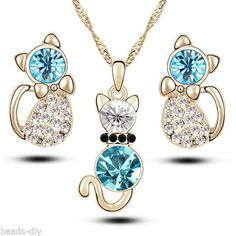 BD Wholesale Fashion Jewelry Cute Cat Austrian Crystal Earrings Necklace Suit