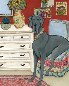 To Big For a Tea Cup ~ Jamie Morath Art mixed media painting, bedroom, patterned chair, white dresser, big dog, sitting, humor, funny, tea cup, great dane