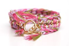 Multi Pink and Green Crochet and Gold Chain by Trinketsinbloom, $25.00