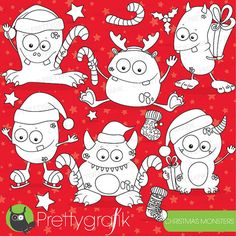 Christmas monsters digital stamps #lineart #stamps #monsters