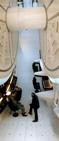 2001: A Space Odyssey -  Kubrick on the set of Discovery Spacecraft - photography by Angus R Shamal