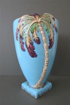 Vintage Art Deco Beswick Ware Pottery Light Blue Palm Tree Vase Large Rare