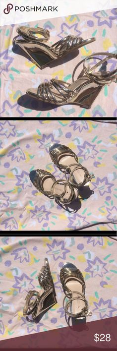 NWOT Boston proper strappy gold wedges Maxi. Boston proper strappy gold heels. Would look amazing with a dress for a night out! New without tags. Boston Proper Shoes Wedges