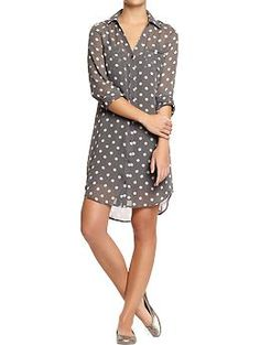 Wear now with black leggings, later with white jeans or with no slip as a swimsuit cover-up    Women's Polka-Dot Chiffon Shirtdresses | Old Navy