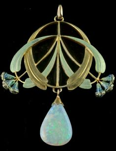 Art Nouveau pendant - An 18 carat gold enameled pendant with a large opal drop and small diamonds in the eucalyptus buds. Signed E. FEUILLÂTRE (Eugene Feuillâtre, French 1879-1916)