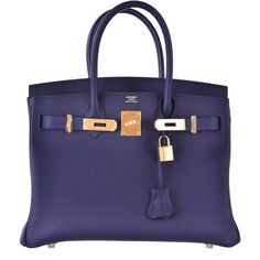fbc887a0e5 Pre-Owned Hermes Birkin Bag 30cm Blue Nuit Gold Hardware ( 24