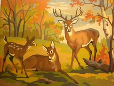 Vintage paint by number deer family, in great condition Family Painting, Painting On Wood, Paint By Number Vintage, Landscape Pencil Drawings, Landscape Paintings, Deer Family, Vintage Cabin, Decoupage Vintage, Mural Wall Art