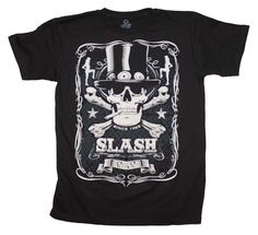 Officially licensed Slash t-shirt featuring a cool white screenprint from rock n roll guitar god. Men's regular fit t-shirt. Band Merch, Band Shirts, Tee Shirts, Vintage Rock T Shirts, Rock And Roll Fashion, Slash, Skull Shirts, Graphic Shirts, Cotton Tee
