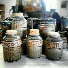 Handmade pottery herb jars with Blue-Green Ash glaze.  http://www.hamiltonwilliamsclayworks.com