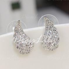 Pair of Sweet Diamante Wing Pattern Stud Earrings For Women #women, #men, #hats, #watches, #belts, #fashion, #style