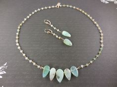 Gold-Filled Chrysoprase Necklace and Earrings Set
