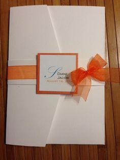 Pocket folder Wedding invitation with Orange ribbon accent Orange Wedding Invitations, Elegant Wedding Invitations, Bridal Shower Invitations, Invites, Wedding Sets, Wedding Cards, Colored Envelopes, Glitter Cards, Response Cards