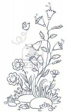 Draw Flower Patterns bird and flower doodle - - Millions of Creative Stock Photos, Vectors, Videos and Music Files For Your Inspiration and Projects. Crewel Embroidery, Hand Embroidery Patterns, Ribbon Embroidery, Cross Stitch Embroidery, Flower Doodles, Colouring Pages, Colorful Flowers, Flower Patterns, Illustrations
