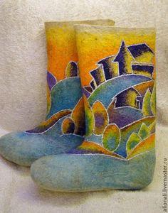 """Обувь ручной работы. Ярмарка Мастеров - ручная работа Валенки """"На радужных холмах"""". Handmade."""