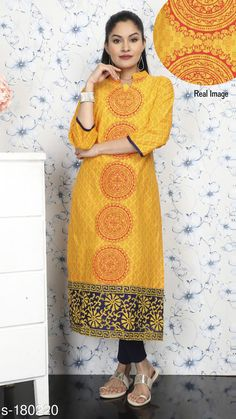 Kurtis & Kurtas Stylish Cotton Kurti Fabric: Cotton  Sleeves - Sleeves Are Included  Size: S - Chest - 38 in, Waist - 34 in, Hip - 40 in, Shoulder - 14 in, Ghera - 21 in, Length - 47 in  M - Chest - 40 in, Waist - 36 in, Hip - 42 in, Shoulder - 14.5 in, Ghera - 22 in, Length - 47 in  L - Chest - 42 in, Waist - 38 in, Hip - 44 in, Shoulder - 15 in, Ghera - 23 in, Length - 47 in  XL - Chest - 44 in, Waist - 40 in, Hip - 46 in, Shoulder - 16 in, Ghera - 24 in, Length - 47 in  XXL - Chest - 46 in, Waist - 42 in, Hip - 48 in, Shoulder - 16.5 in, Ghera - 25 in, Length - 47 in  Type - Stitched  Description: It Has 1 Piece of Kurti  Work: Block Printed Sizes Available: S, M, L, XL, XXL   Catalog Rating: ★3.9 (248)  Catalog Name: Trendy Cotton Printed Kurtis Vol 3 CatalogID_18179 C74-SC1001 Code: 183-180220-