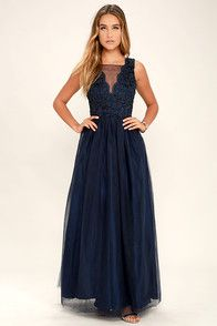 Navy Blue Gown - Tulle Dress - Maxi Dress - Embroidered Dress - $98.00