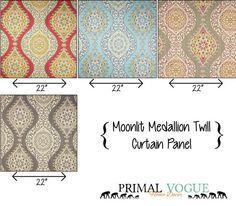 Moonlit Medallion Twill Curtain Panels by PrimalVogueHomeDecor  #metallic #gold #silver #boho #gypsy #medallion #geometric #symmetrical #homedecor #curtains