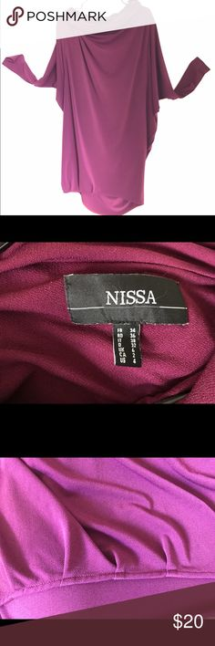 NISSA dress, batwing sleeve, big collar A loose dress in nice purple plum color (95%polyester, 5%elastane). Has a cowl neckline and a high-low hem. It's a European fashion brand, very well made. I wore it a couple of times, great condition. I washed it in cold water, no tumble dry. Additional information upon request. Nissa Dresses Long Sleeve