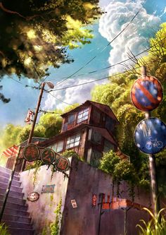 ✮ ANIME ART ✮ anime scenery. . .city. . .town. . .buildings. . .stairway. . .street signs. . .street lamp. . .amazing detail