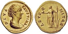 Faustina I (138-140). Aureus, Rome, 141. DIVA FAVSTINA. Bareheaded and draped bust right of Faustina Senior, wearing an elaborate haidress. / AETE – R – NITAS. Draped and veiled Aeternitas standing half-left, holding globe in her right hand and long scepter in her left.