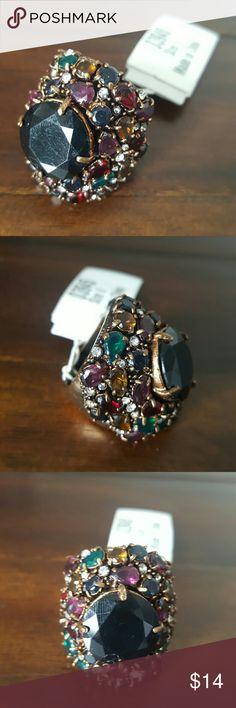 NWT Multicolor Rhinestone Ring - Size 6 Amazing Ring! Size 6 Multicolor Rhinestone Jewelry Rings