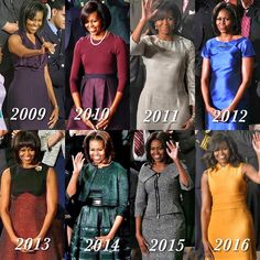 First Lady Michelle Obama at each of the state of the union speeches. A class act! Michelle Und Barack Obama, Barack Obama Family, Michelle Obama Fashion, Obamas Family, Malia Obama, Presidents Wives, Black Presidents, Durham, Joe Biden