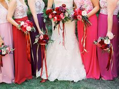 Pink, purple, and red bridesmaids + lace