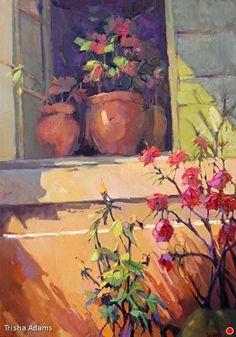 "Window Garden by Trisha Adams Oil ~ 30"" x 24"""