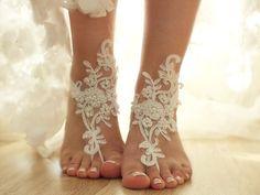 ivory Beach wedding barefoot sandals by ByVIVIENN on Etsy