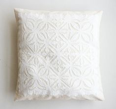 Organic Beautiful Handmade Applique White Pillow or by gypsya, $22.00
