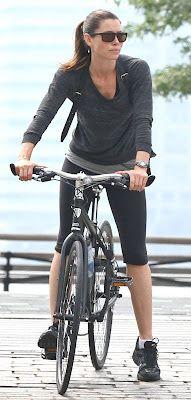 Jessica Biel rides...